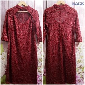 MARINA Red Festive Open Chest Sequin Dress M NWT